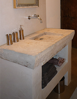 Antique reclaimed farmhouse trough sink hand carved back in the 16th century, refurbished to accommodate any modern setting and application from a powder room sink to a kitchen vegetable sink. This Concave design is very rare and is only found in less than one in a ten thousand antique sinks. Ergonomically hand carved to accommodate for human usage in a high usage area of an old house like in a main kitchen of a grand European villa or castle