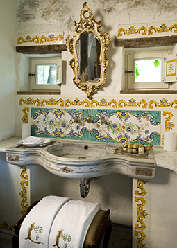 Ancient 16th century Italian Renaissance era marble inlayed sink restored to its former glory by our uniquely talented artisans wonderful cross motifs shown on its surface