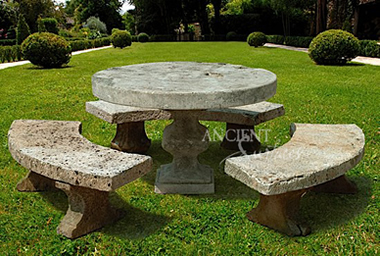 Antique limestone Table with Curved Benches