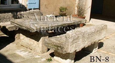 Antique Italian carved stone benches from Tuscany, Italy